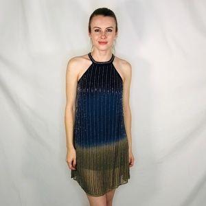 Chelsea + Violet Beaded Mini Dress Hight Neck NWOT
